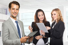 Group of young businessman in the office stock photo