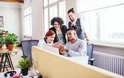 Group of young businesspeople working in office, start-up concept. A group of young businesspeople with model of hand working in office, start-up concept royalty free stock image