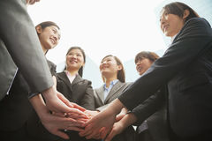 Group of young businesswoman putting hands together in a circle and cheering Royalty Free Stock Images