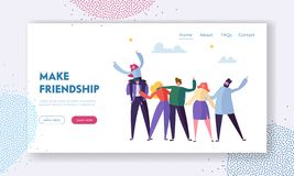Group of Young Cheerful People Rejoice Waving Hands and Embracing, Friendship Concept, Men and Women Spend Time Together. Warm Human Relations Landing Page for stock illustration