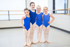 Group of young children in dance class. Young ballet dancers in the studio Royalty Free Stock Image