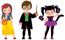 Group of young children in Halloween costumes on a white background. Group of young children in Halloween costumes in full length on a white background vector illustration