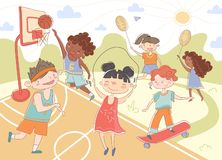 Group of young children playing summer sports stock illustration