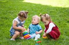 Group of young children spending time in nature. Royalty Free Stock Photography