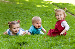 Group of young children spending time in nature. Stock Images