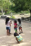 Group Of Young Children Stand By The Road Side Royalty Free Stock Image
