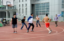 Pengzhou, China: Youths Playing Basketball Royalty Free Stock Photography