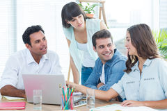 Group of young colleagues having a meeting Royalty Free Stock Photo