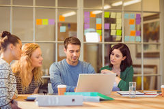 Group of young colleagues using laptop Stock Photography