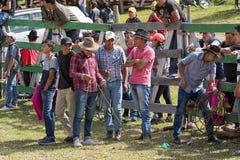 Group of young cowboys in Ecuador. May 28, 2017 Sangolqui, Ecuador: young quechua people at a rural amateur rodeo royalty free stock image