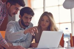 Group Young Coworkers Making Great Business Decisions.Creative Team Discussion Corporate Work Concept Modern Office. New Startup Marketing Idea Presentation Stock Images