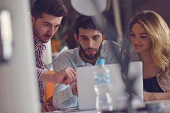 Group Young Coworkers Making Great Business Decisions.Creative Team Discussion Corporate Work Concept Modern Office. New Startup Marketing Idea Presentation Stock Photo