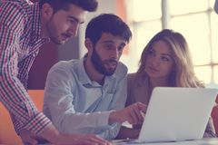 Group Young Coworkers Making Great Business Decisions.Creative Team Discussion Corporate Work Concept Modern Office. New Startup Marketing Idea Presentation Royalty Free Stock Photography