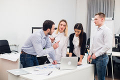 Group Young Coworkers Making Great Business Decisions. Creative Team Discussion Corporate Work Concept Modern Office. Startup Marketing Idea Presentation stock photos