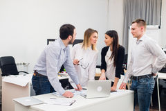Group Young Coworkers Making Great Business Decisions.Creative Team Discussion Corporate Work Concept Modern Office Royalty Free Stock Photography