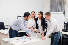 Group Young Coworkers Making Great Business Decisions.Creative Team Discussion Corporate Work Concept Modern Office. Startup Marketing Idea Presentation royalty free stock images
