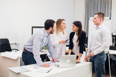 Group Young Coworkers Making Great Business Decisions.Creative Team Discussion Corporate Work Concept Modern Office Royalty Free Stock Images