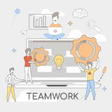 Teamwork Success. Designers Works Solving Problem. Group young Designers are Working on Solving Problem. Teamwork is Success. Designers Works Remotely with each vector illustration