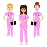 Group young doctor. On white background, vector illustration Stock Image