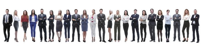 Group of young entrepreneurs standing in a row royalty free stock photo
