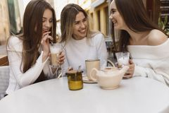 Girlfriends have fun in cafe stock photo