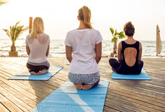 Group of young females practicing yoga on the seaside during the sunrise. Group of young caucasian females practicing yoga on the seaside during the sunrise royalty free stock photo