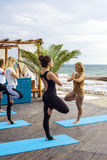 Group of young females practicing yoga on the seaside during the sunrise Royalty Free Stock Photos
