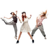 Group of young femanle hip hop dancers on white background Stock Images