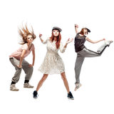 Group of young femanle hip hop dancers on white background Stock Image