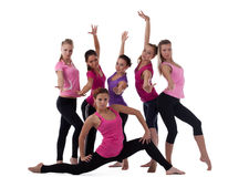 Group of young fitness instructors isolated. Group of young fitness instructors training center isolated Stock Photos