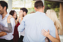 Group of young friends dancing. At the party royalty free stock photography