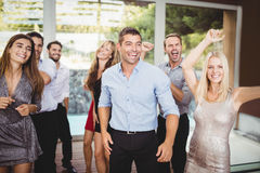 Group of young friends dancing. At the party royalty free stock photo