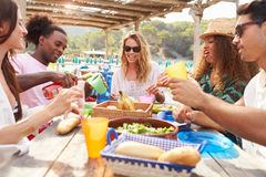 Group Of Young Friends Enjoying Lunch Outdoors Stock Image