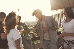 Rooftop barbecue Stock Images