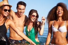 Group Of Young Friends Having Fun In Sea Together Royalty Free Stock Photos