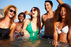 Group Of Young Friends Having Fun In Sea Together Stock Images