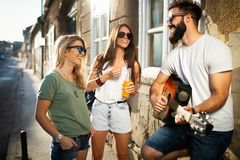 Group of young friends having fun together outdoor stock image