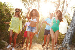 Group Of Young Friends Having Party On Beach Together Stock Photo