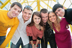 Group of young friends look on you Royalty Free Stock Image
