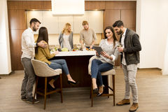Group of young friends in modern kitchen. Group of young friends are in modern kitchen, talking to each other while preparing food stock images