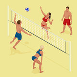 Group young Friends Playing Volleyball On Beach. Beach volleyball Is a popular sport that is played on the beach. Flat Stock Photos