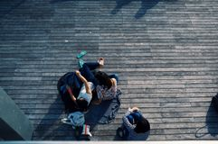 Group of young friends relaxing outdoors Royalty Free Stock Photo