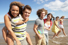 Group Of Young Friends Walking Along. Summer Shoreline Stock Photography