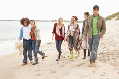 Group Of Young Friends Walking Along Autumn Shorel Royalty Free Stock Images
