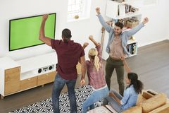 Group Of Young Friends Watching Sports On Television And Cheerin Stock Photos