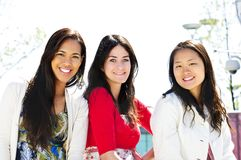 Group of young girl friends royalty free stock image