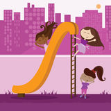 Group of Young Girlfriends. A group of diverse girls playing on a slide outside of the city Vector Illustration