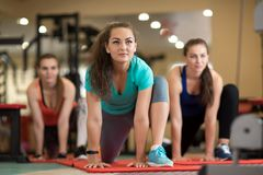 Group of young girls doing exercises in gym stock photo
