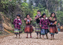 Group of young girls on farm road in mountains. Royalty Free Stock Photography