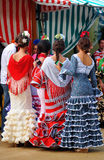 Group of young girls, Flamenco dresses, Seville Fair, Andalusia, Spain Stock Photos